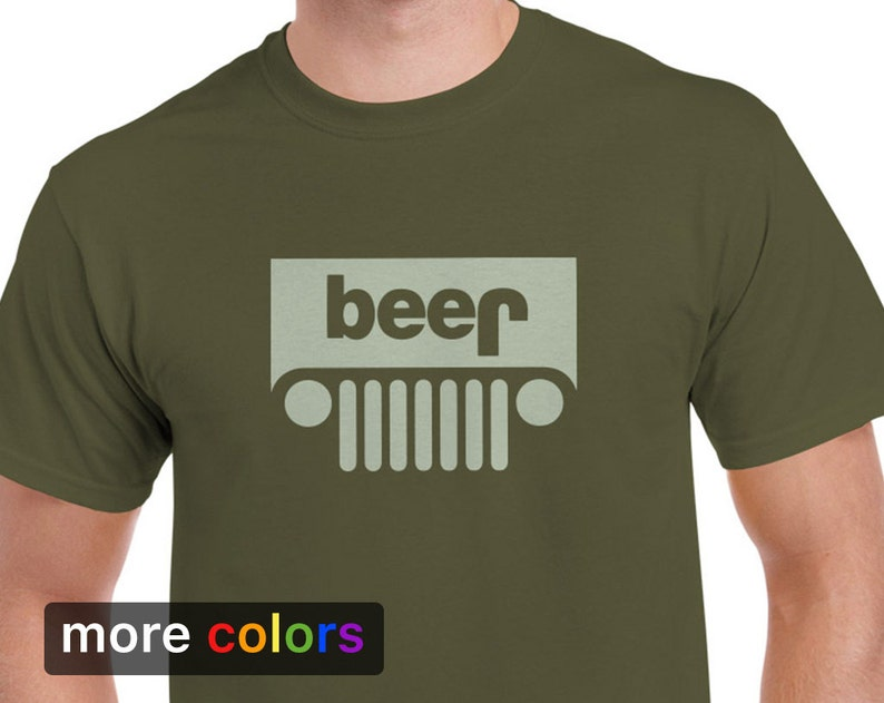 8f539b20 Funny Jeep Beer Parody Mens T-shirt Tee | Etsy