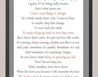 Stranger Things Hopper's Letter Quote 11 x 14 Inspiration Print