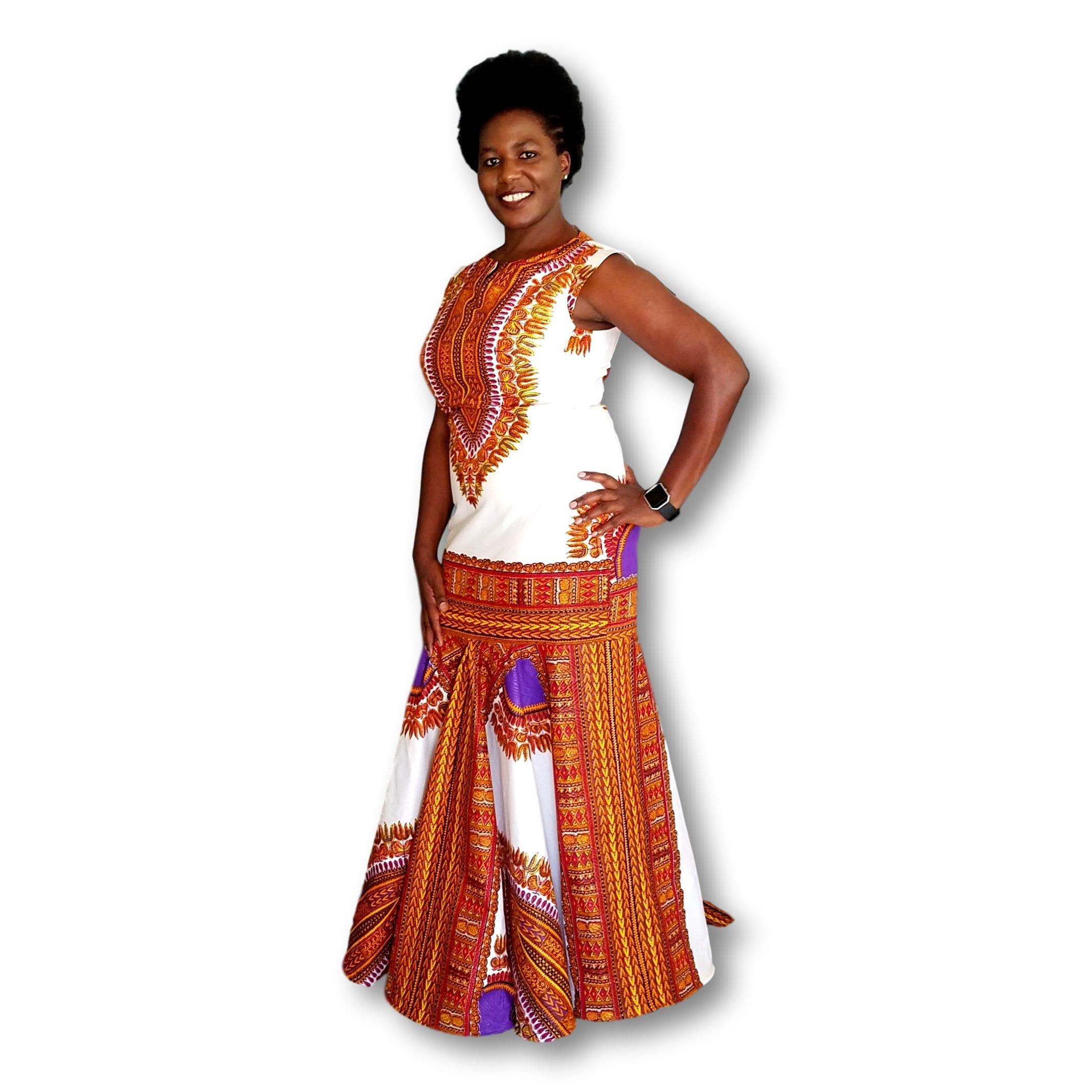1343fcf75cd9 Kuwaha African Print Dashiki Mermaid Gown Dress; White & Purple