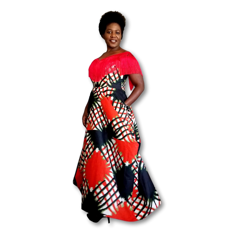 48a6a08b72 Kuwaha African Print Off Shoulder Fringe Asymmetric Maxi Dress; Red ...