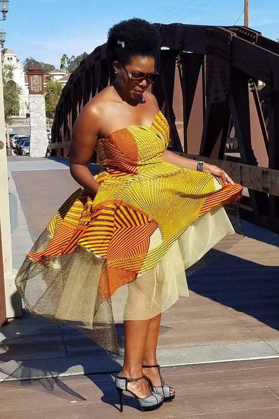Gold Yellow Metallic Netting Kuwaha African Print Strapless Tutu Midi Gown Tulle Orange