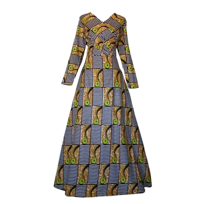 df0ceea9bbd Kuwaha African Print Long Sleeve A-Line Maxi Gown Dress  Brown ...