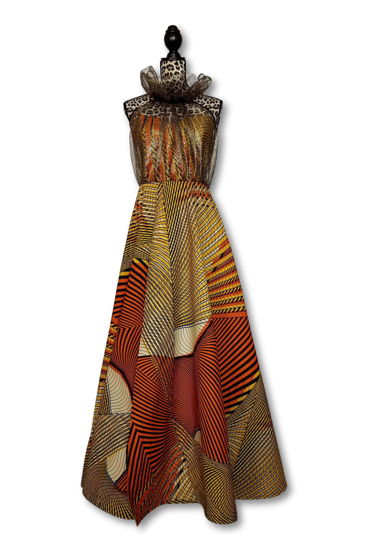 Kuwaha African Print With Metallic Netting Turtle Neck Ball Gown