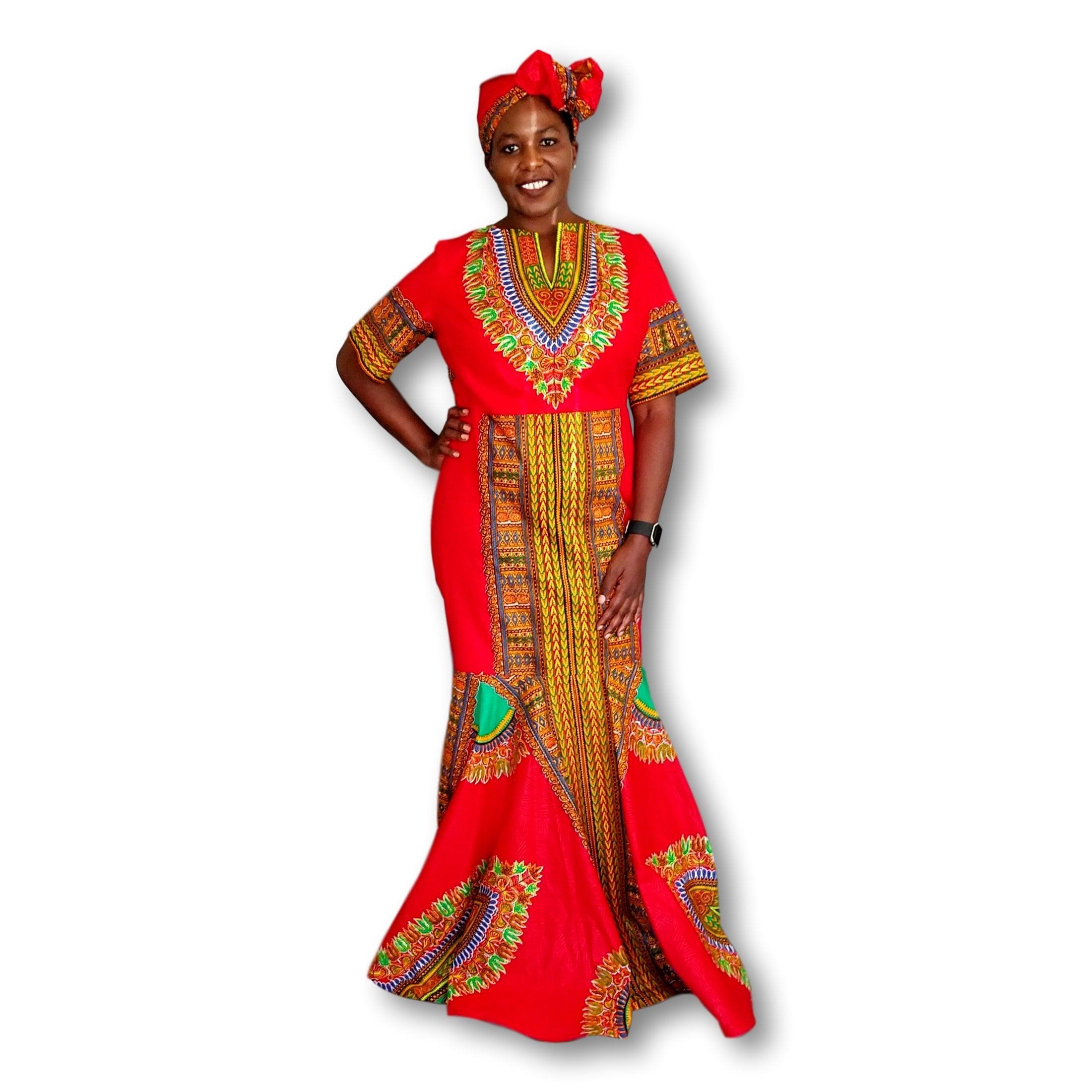 5a35d8a719ea Kuwaha African Print Dashiki Mermaid Gown Dress; Red & Green ...