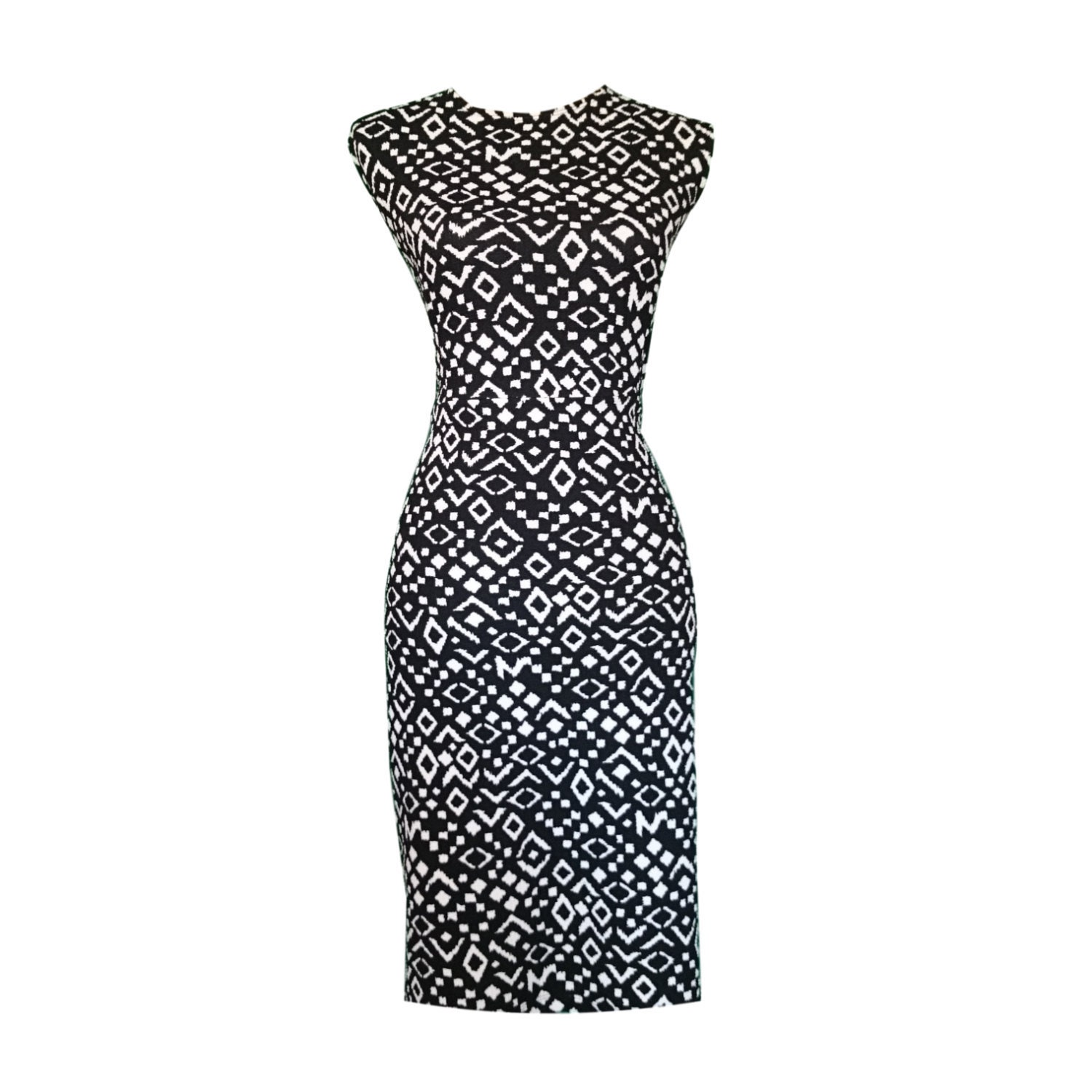 Kuwaha Ethnic Textured Knit Sheath Pencil Dress, Black & White