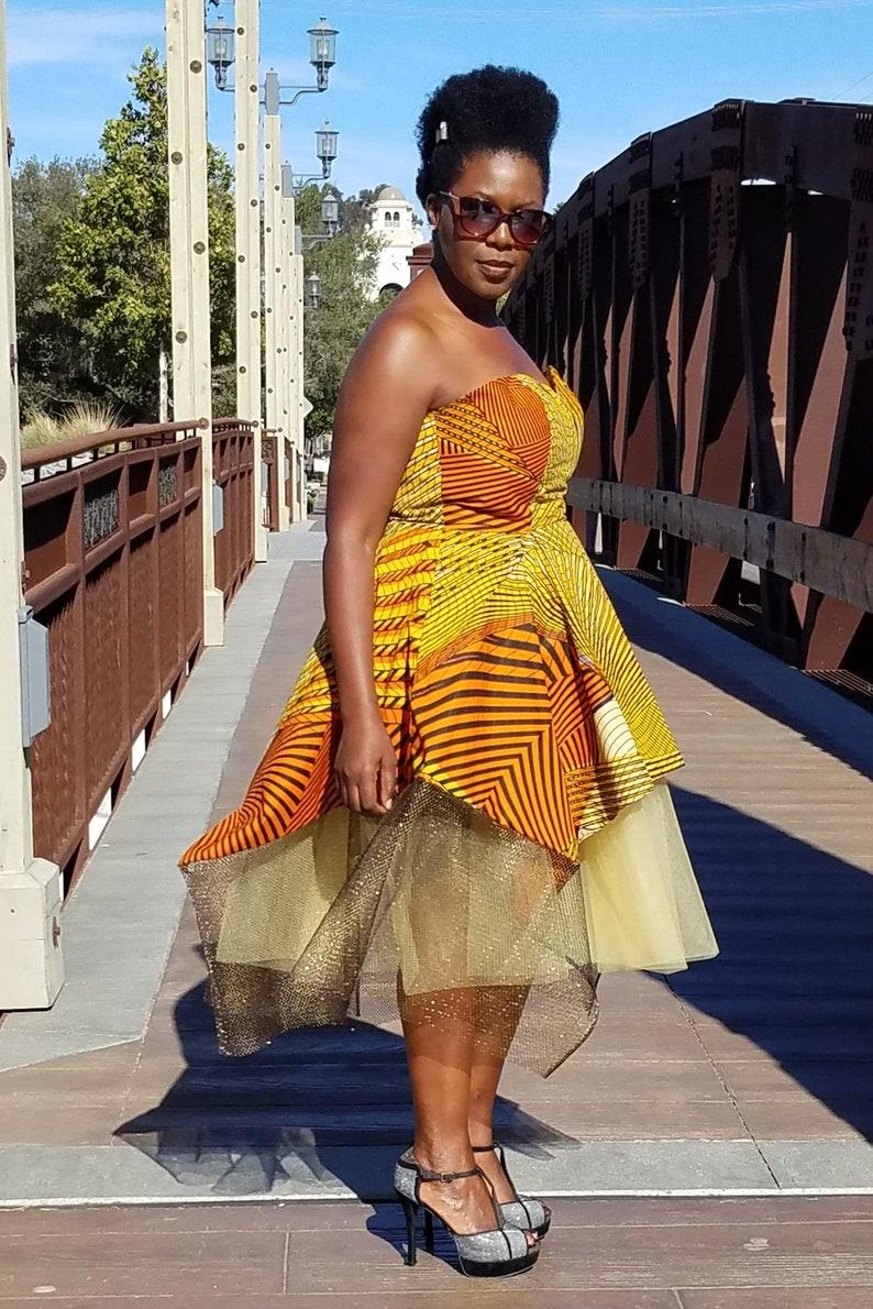 Tulle Metallic Netting Orange Kuwaha African Print Strapless Tutu Midi Gown Yellow Gold