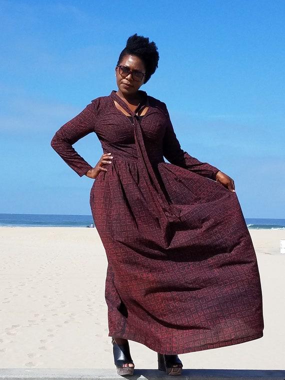 Kuwaha African Print Long Sleeve Maxi Dress Blue Dark Red  ebec34f12