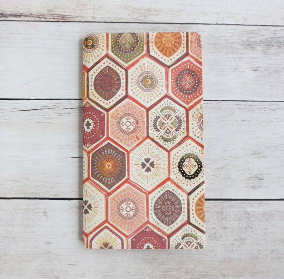 Planner Folder, Gold Foil Honeycomb Journal Insert, Four Pocket Pink Fauxdori Pocket for Travel Notebook, Wildflower Collection