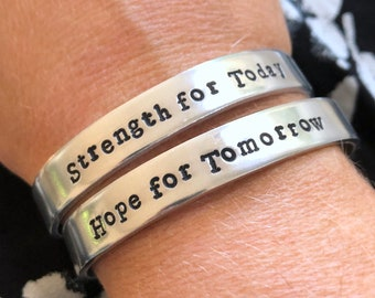 Strength for Today + Hope for Tomorrow bangle set  |  Great is Thy Faithfulness inspirational bracelet  |  Love Squared Designs
