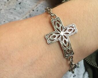 Filigree Cross chain bracelet, elegant chain bracelet, Jesus is my true north, Love Squared Designs