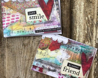 5 x 7 greeting card set | just smile | blessed friends | Stephanie Ackerman | blessed friend