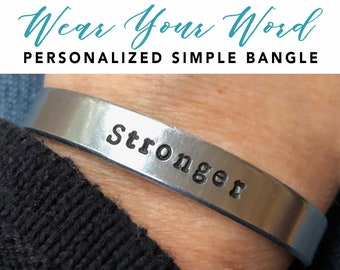 """CUSTOM WORD bangle - simple """"Good Word"""" bangle - Word of the Year - metal cuff bracelet - inspirational jewelry - Love Squared Designs"""