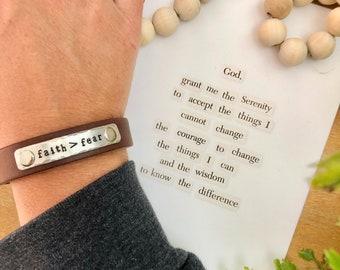 faith > fear - SERENITY PRAYER SET |leather bracelet + print + mini cards  | faith over fear | Stephanie Ackerman  |  Love Squared Designs