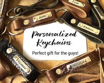 Personalized keychain - Leather key fob - Love Squared Designs