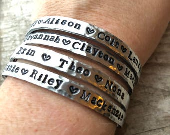 Personalized names bangle (with hearts) - Gift for mom - Love my tribe -  skinny metal bracelet - custom name jewelry - Love Squared Designs