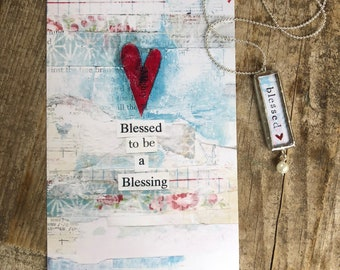 blessed GIFT SET | soldered blessed necklace + art print | blessed to be a blessing | Stephanie Ackerman | Love Squared Designs