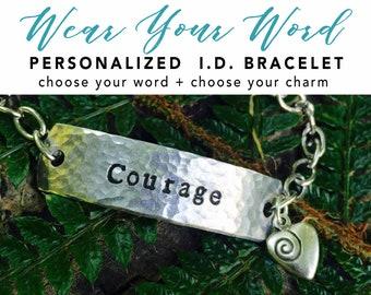 CUSTOM WORD I.D. bracelet - custom word bracelet - one little word - inspirational - Love Squared Designs
