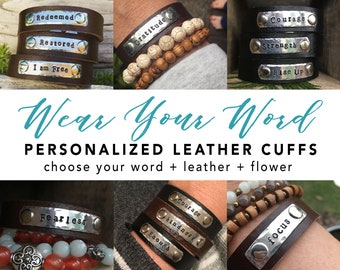 CUSTOM WORD leather cuff bracelet - simple leather bracelet - custom word bracelet - inspirational word- #onelittleword - word of the year