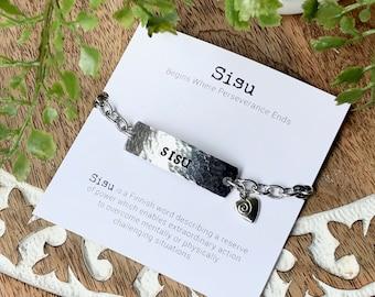 SISU I.D. bracelet + print set     Finnish gift     grit    inspirational word jewelry     Finland gift     Love Squared Designs