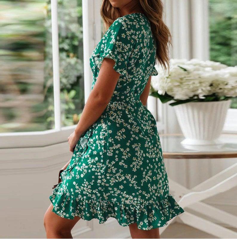 Women Dresses Summer 2021 V Neck Floral Print Boho Beach Dress Ruffle Short Sleeve A Line Mini Dress Wrap Sundress Robe over swimwear