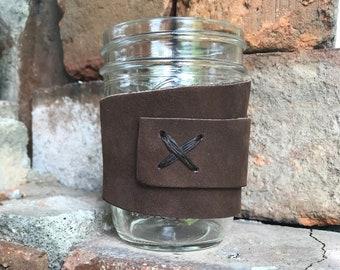 Leather Mason Jar Mug// Leather Cozy// Mason Jar Holder//Customizable