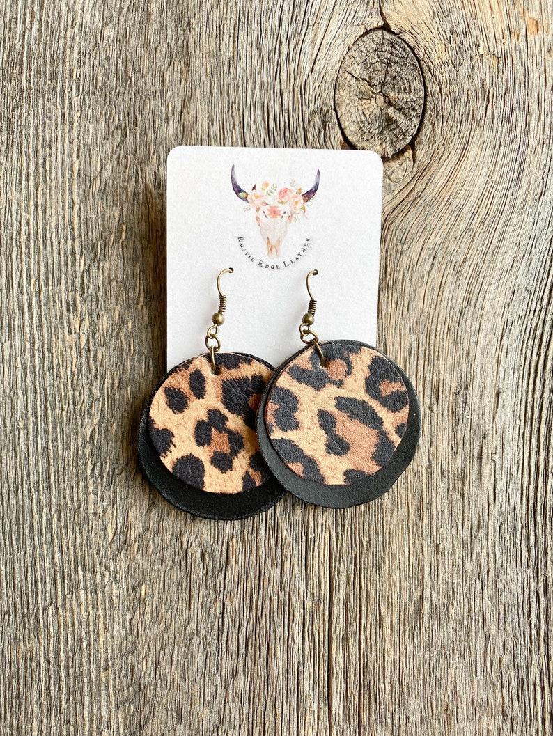 Leather Earrings  Animal Print  Buffalo Check  Sunflower