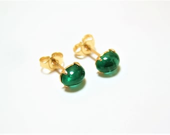 5370e45d8 14k/585 solid yellow gold Natural Zambian dark green Emerald stud earring  0.74 gm
