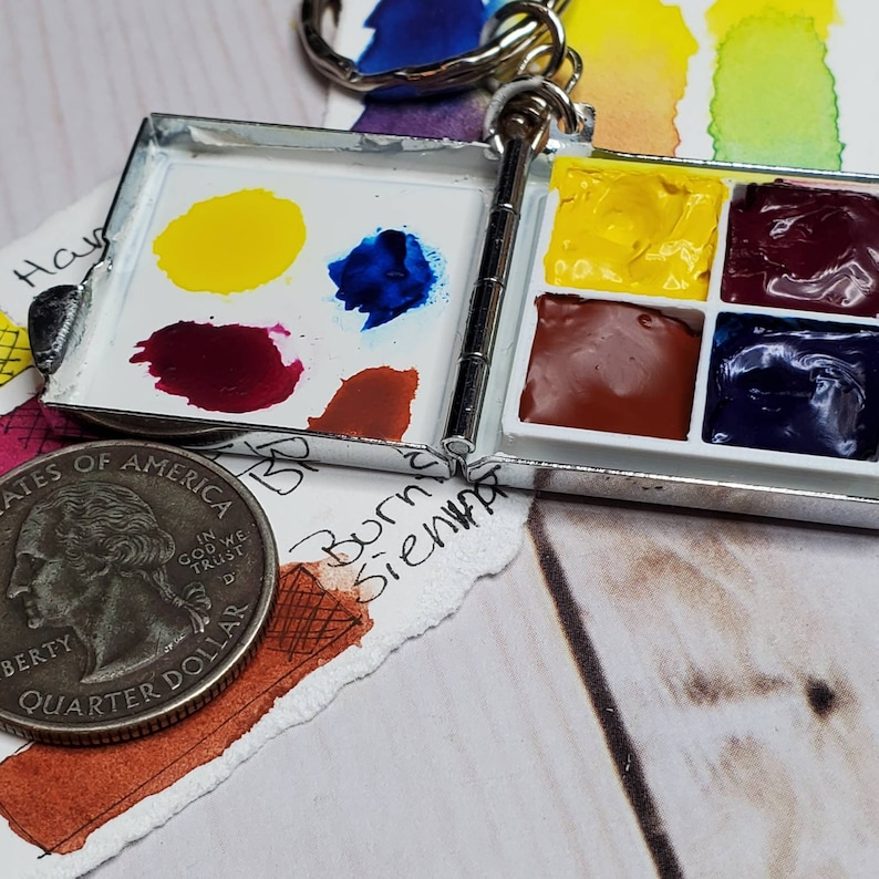 Watercolor travel palette stainless. Keychain Pocket size 1.5 image 0