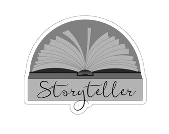 Gray Storyteller Sticker for Writers and Authors. Writing. Writer Gift. Author Gift.