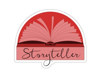 Red Storyteller Sticker for Writers and Authors. Writing. Writer Gift. Author Gift.