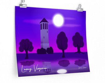 Poster Luray, Virginia with Singing Tower/Carillion Original Landscape Art from Artist Janell E. Robisch