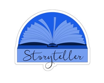Blue Storyteller Sticker for Writers and Authors. Writing. Writer Gift. Author Gift.