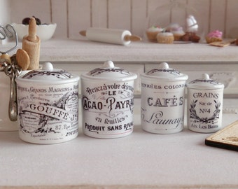 Dollhouse Miniature Vintage French Kitchen Metal Canisters 1:12 scale