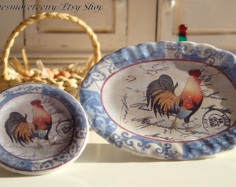 Blue Farm Rooster Plate for Dollhouse