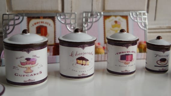 Dollhouse Miniature Metal Canister set with lids /& towels 10 pc set 1:12 scale