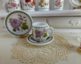 Botanic Roses Lilac Rose Dollhouse Coffee Mug and Saucer.