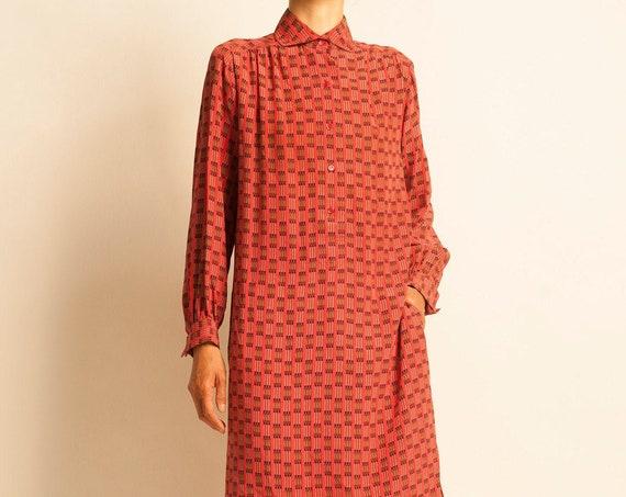 Shirt dress HERMÈS from early 1980's classic chains motif