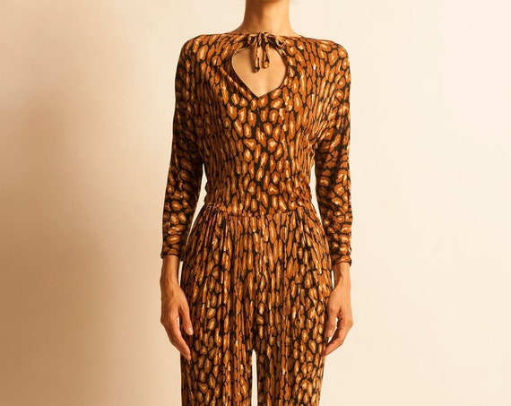 Jumpsuit from 1980's leopard motif
