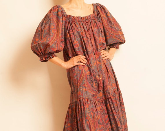 Maxi smock dress Yves Saint Laurent from 1970's