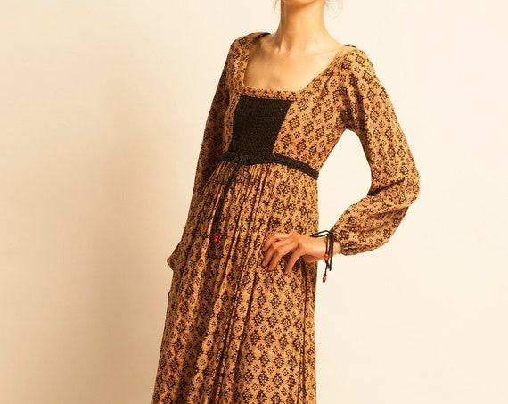 Maxi dress from 1970's Indian block print