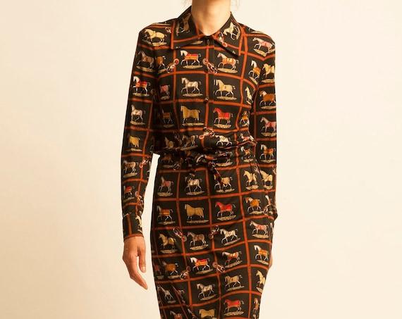 Shirt dress HERMÈS from 1970's