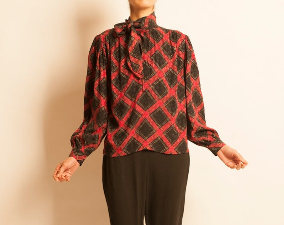Bow tie blouse Yves Saint Laurent from 1980's