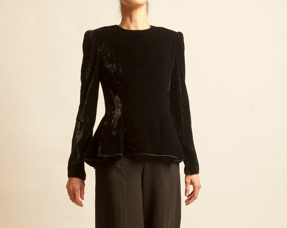 Black velvet top Givenchy from 1980's