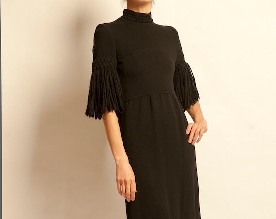 Evening black dress with fringes from 1960's