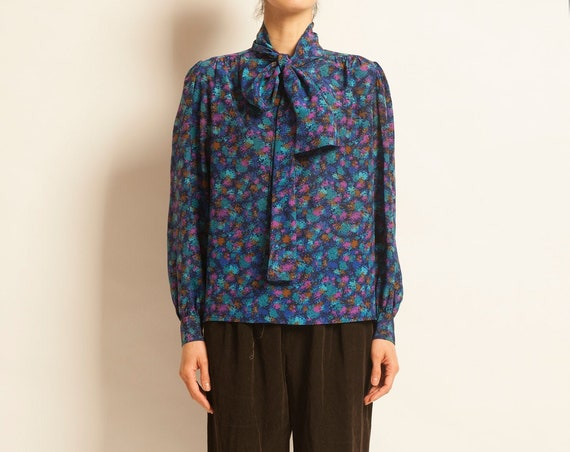 Silk bow tie blouse Yves Saint Laurent from 1981