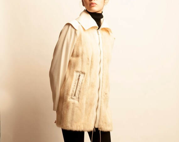 Courrèges 1970's fur + cotton 3/4 coat blouson