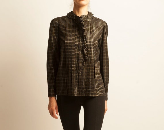 Blouse Yves Saint Laurent from 1980's checked pattern