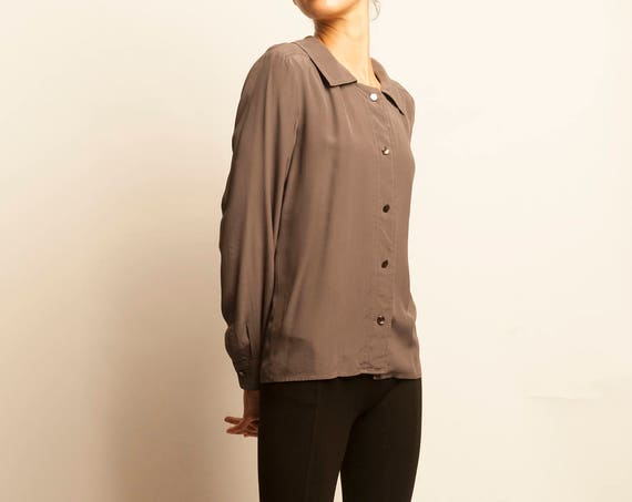 Yves Saint Laurent 1980's purple grey simple blouse