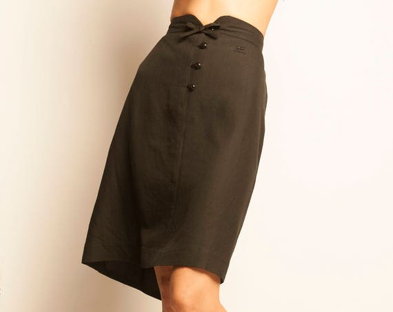 Courrèges late 1970's black pencil skirt