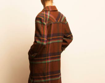 CELINE 1980's checked pattern wool double breasted coat